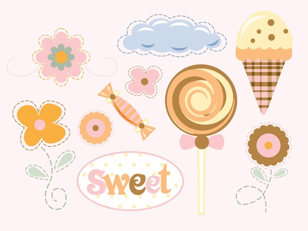 Cartoon Flowers and Sweets