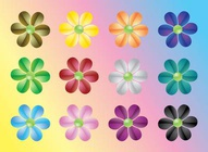 Colorful Flowers Vectors Pack