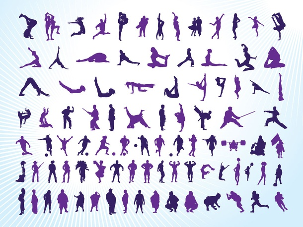 Athletic People Silhouettes