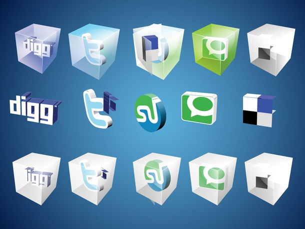 3D Social Bookmark Icons
