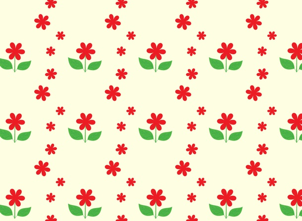 Red Spring Flowers Pattern