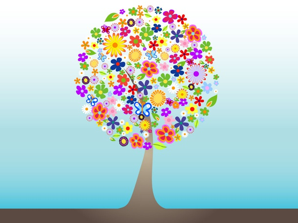 Colorful Flower Tree Vector