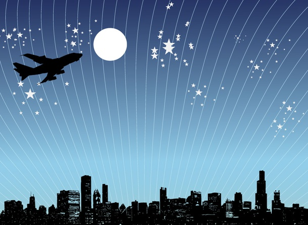 Plane Over City Vector