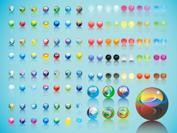 Cartoon Colored Marbles : Glass marbles