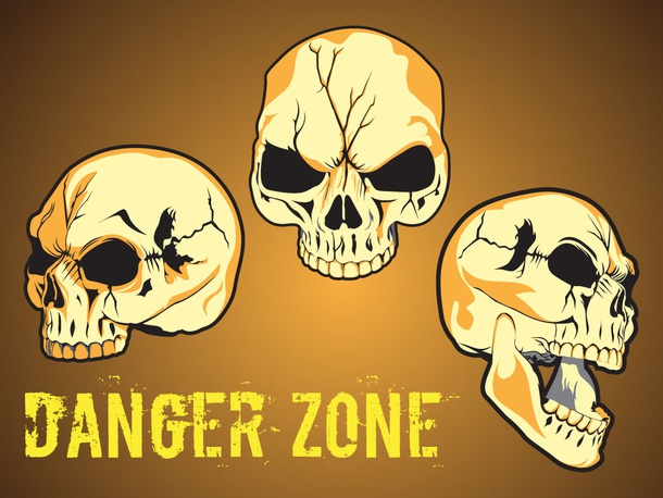 how to draw danger skull