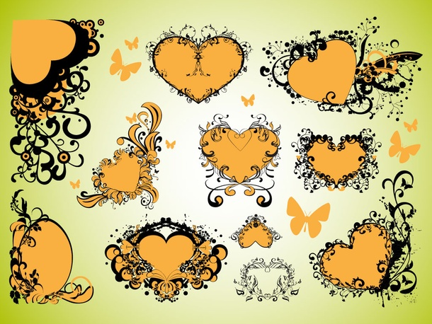 Decorative Love Hearts Vectors