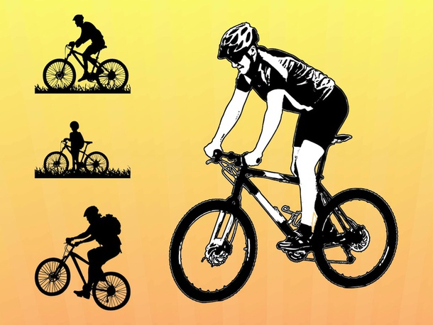 Biking Vector Graphics