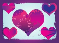Purple Grunge Hearts