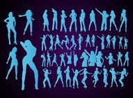 Dancing Girls Vector Silhouettes