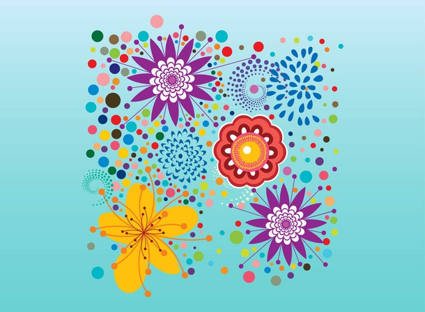 Colorful Flowers Vector Design