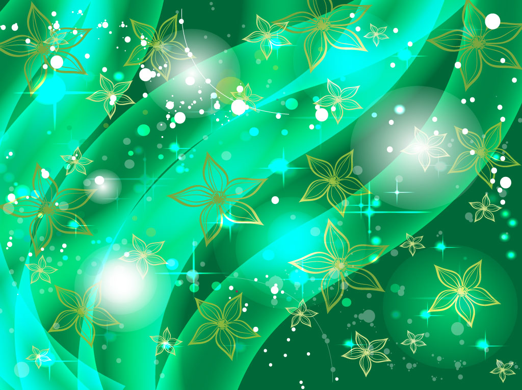Radiant green vector background with flowing shapes that resemble ...