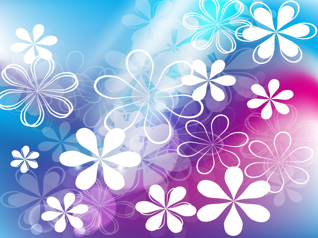 blue flower backgrounds vector-#35
