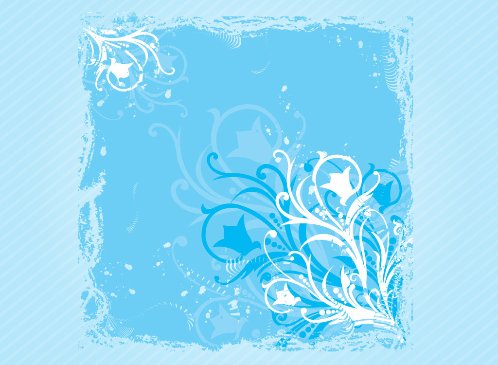 Download This Cool Blue Floral Tile Background For Your Personal