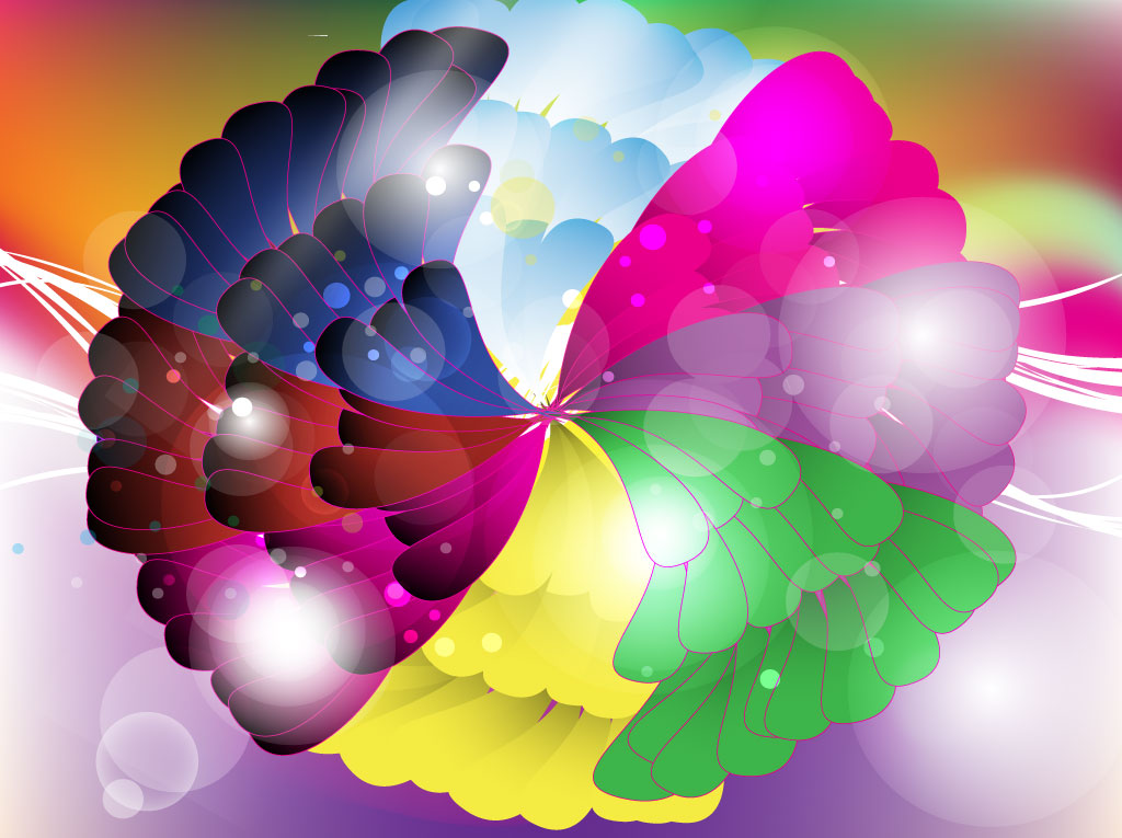 Bright Abstract Flower Graphics