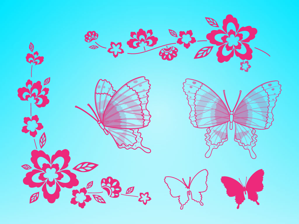 Free clip art butterflies and flowers