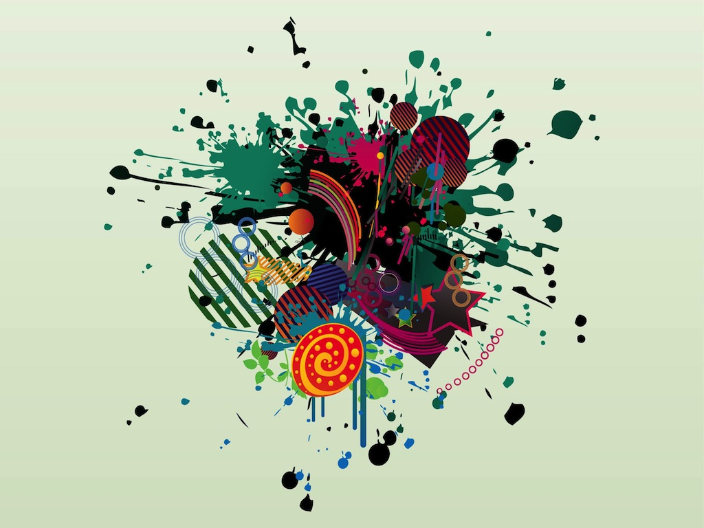Color Splatter Vector Colorful Splatter Design
