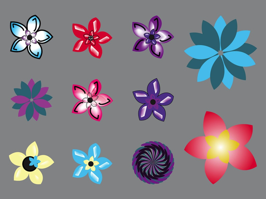 Cute Flowers Vectors