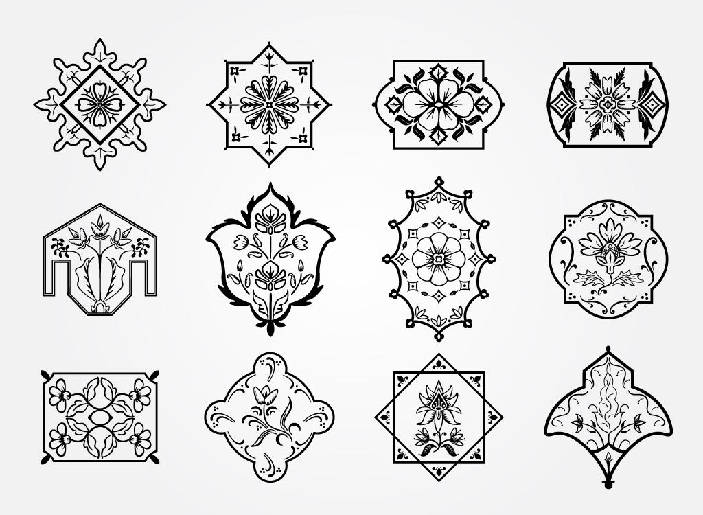 floral motifs vector images. Black Bedroom Furniture Sets. Home Design Ideas