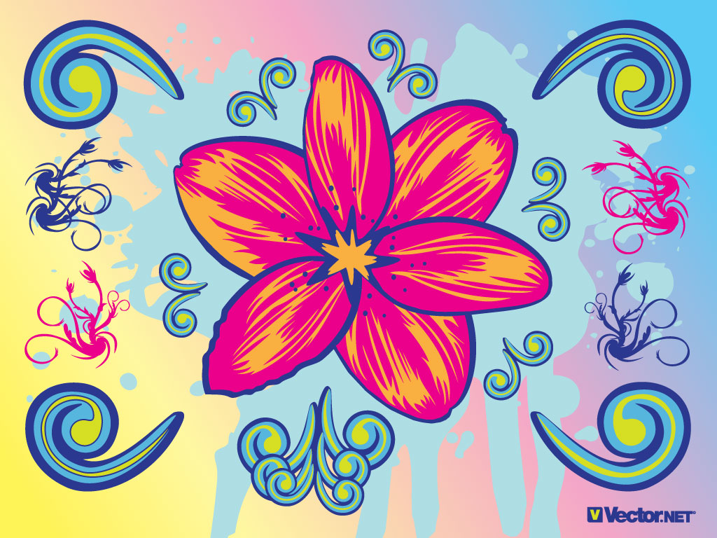 Download this flower graphic with cool clip art elements. A beautiful