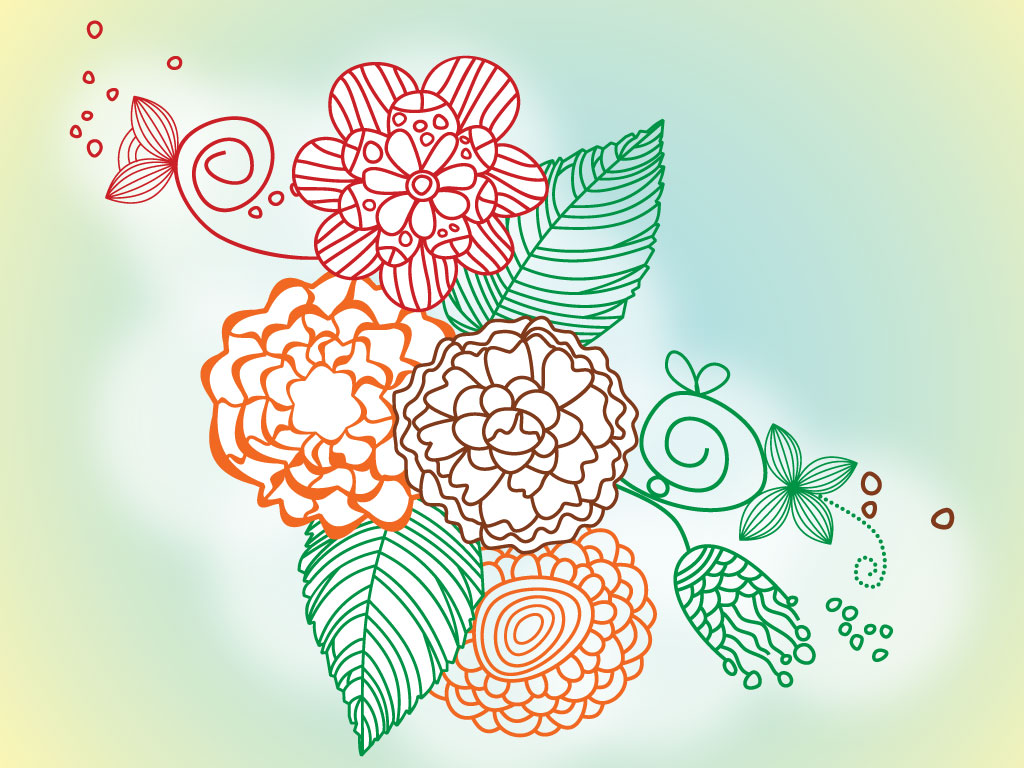 Line Drawing Flower Designs : Flower line drawings