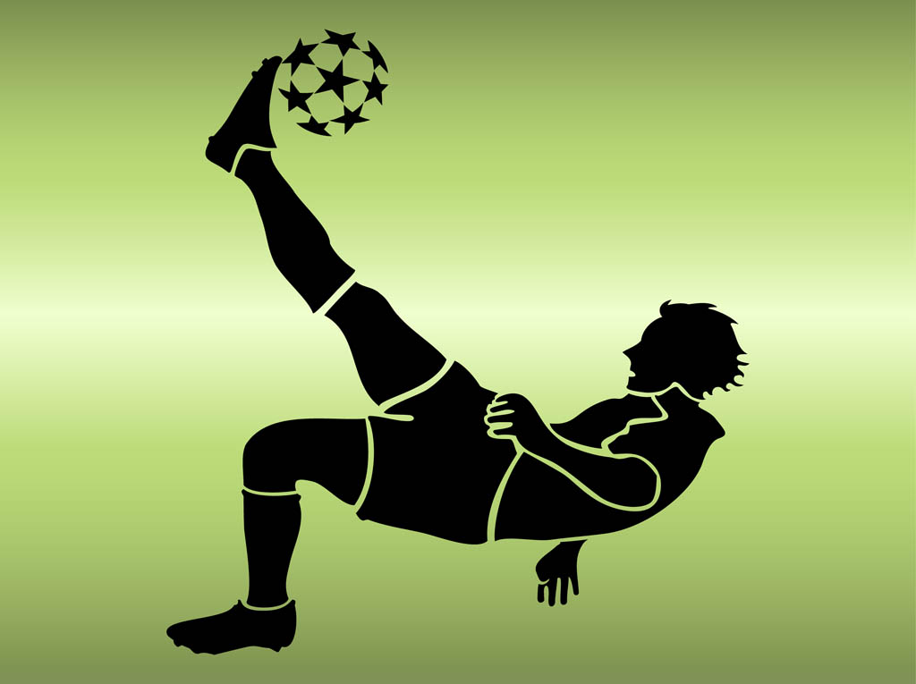 Soccer player kick vector silhouettes Vector  Free Download