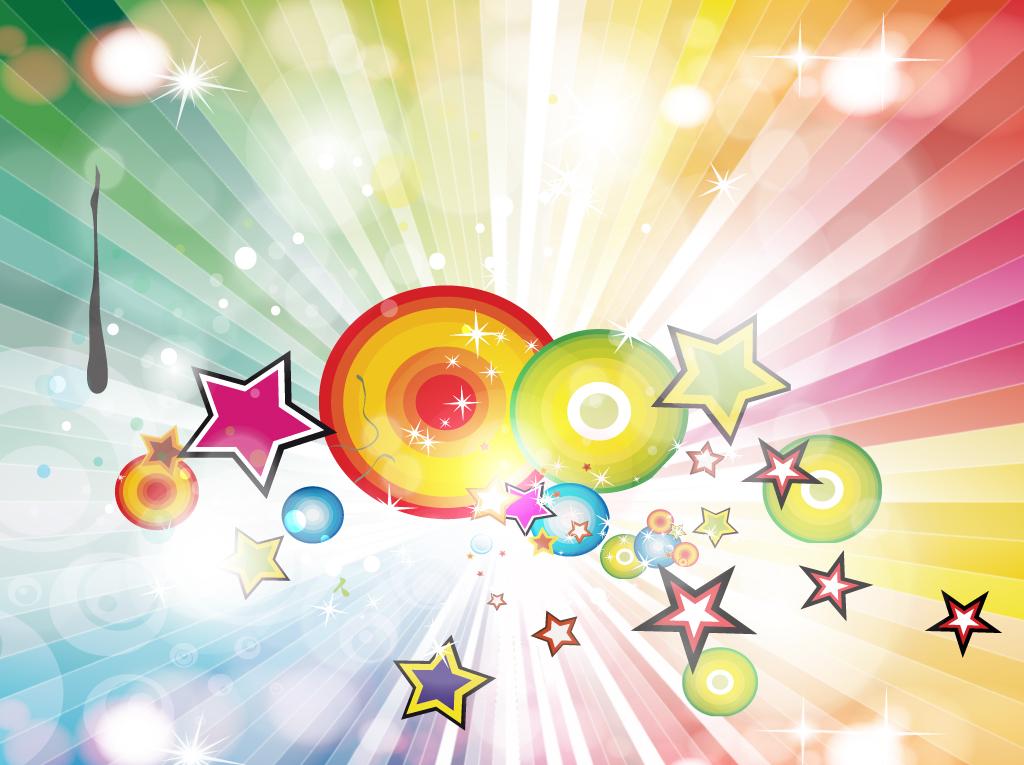 free rainbow burst background