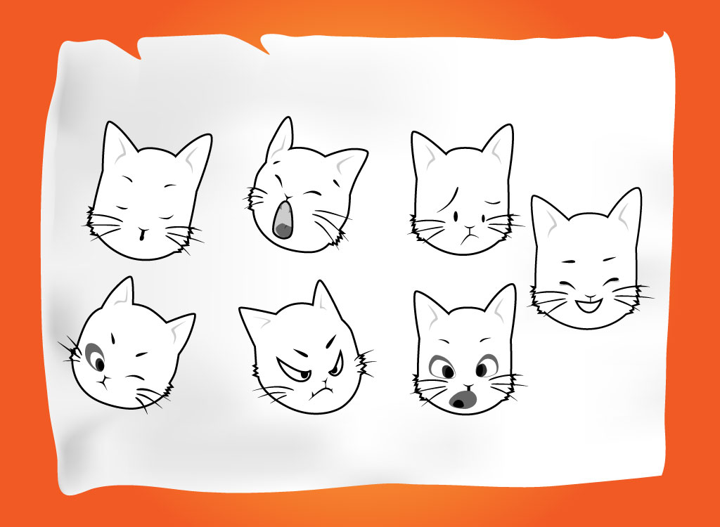 Fun Cat Face Vectors