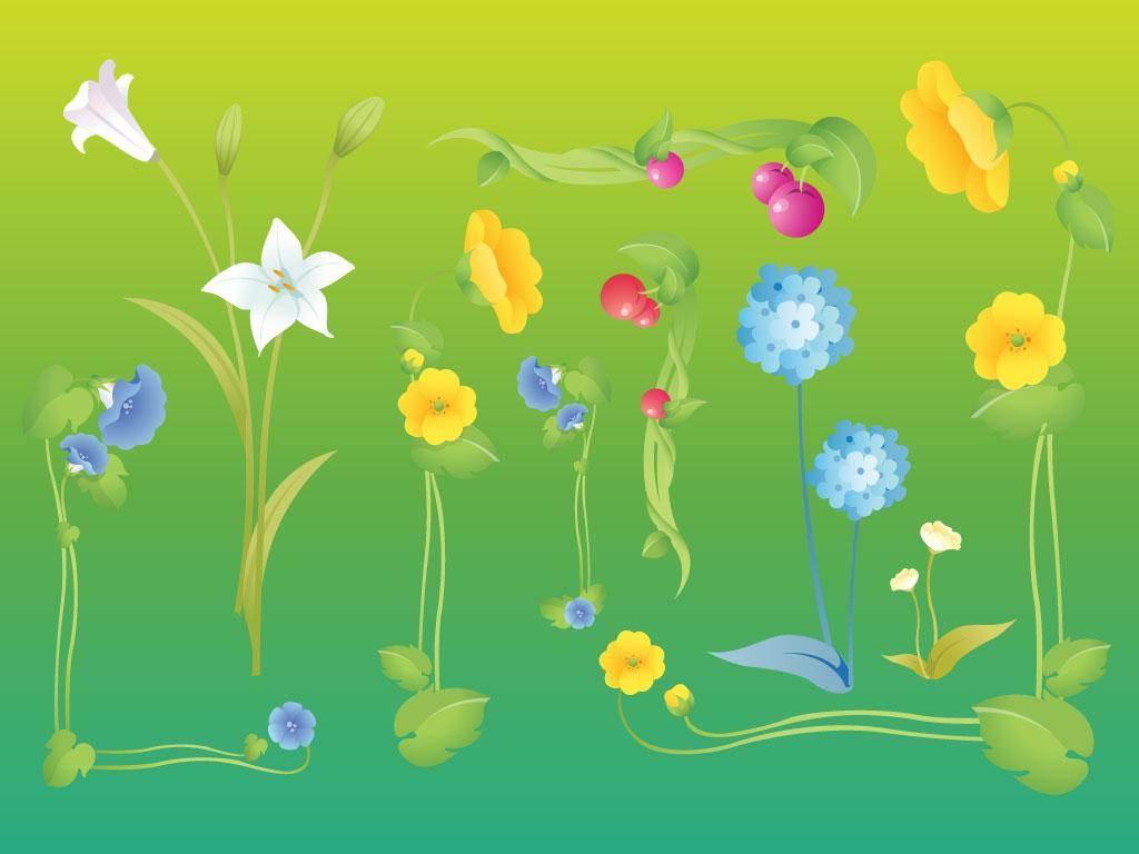 Garden flower vectors