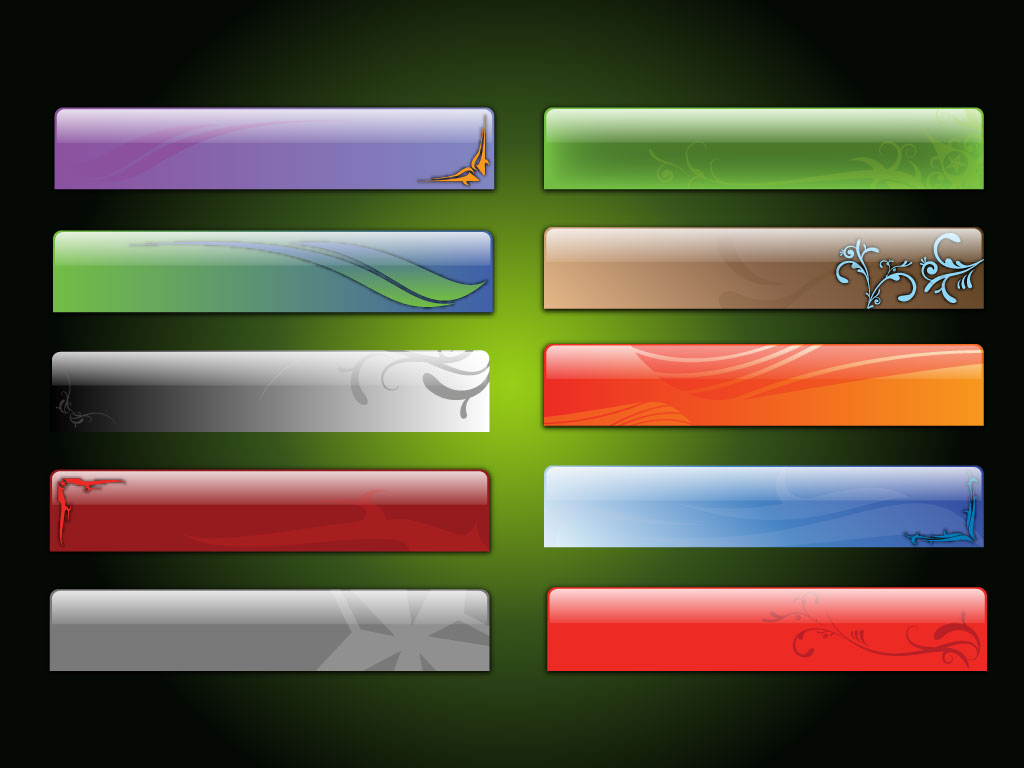 Ten different glossy and creative web banners and header backgrounds