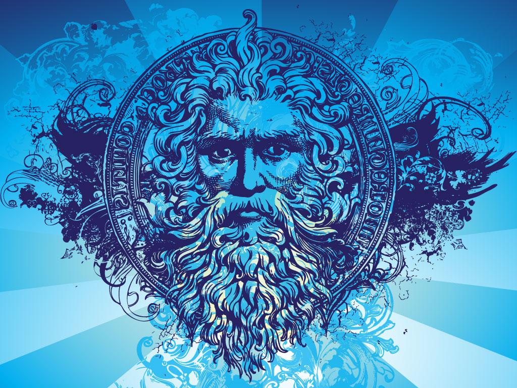 Ancient Greek Mythology Background Greek God Illustrated