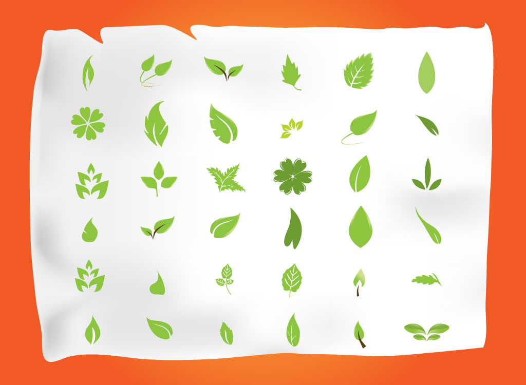 Vector set of green leaves with 36 tree and foliage vector leaves set