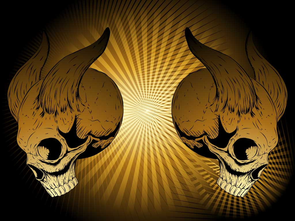 Download this cool horned skull vector design for your wild west