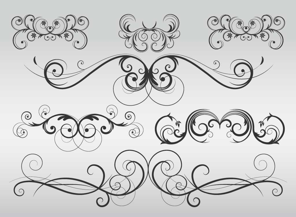 modern flourish vectors rh vectorfree com Flourish Graphics Fancy Scroll Clip Art