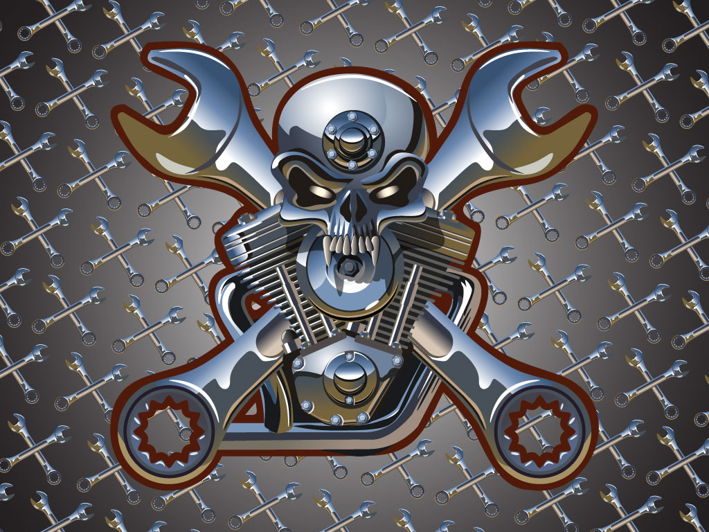 Vector Skull And Spud Wrench Tattoo