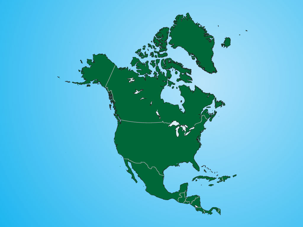 Vector Map Of North America - Us and canada vector map