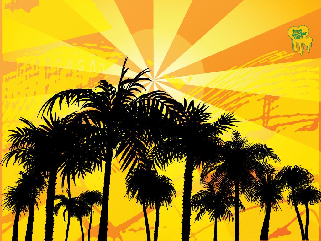 Palm tree sun for Beach design