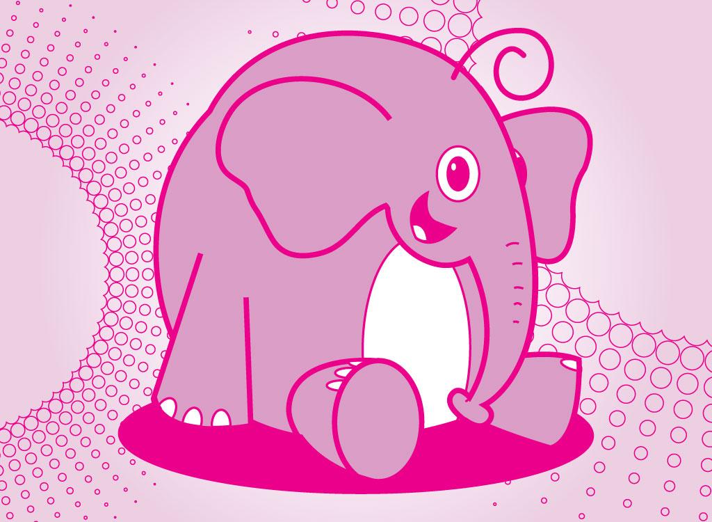 Cute pink elephant cartoon - photo#22