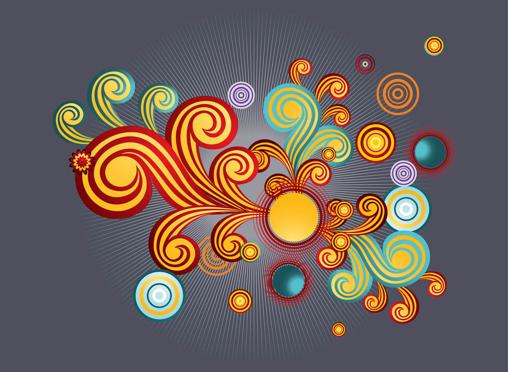 Retro Swirls Vector