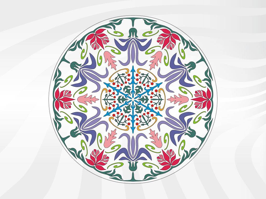 Round Floral Vector
