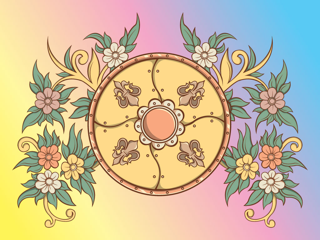 Shield and Flower Design