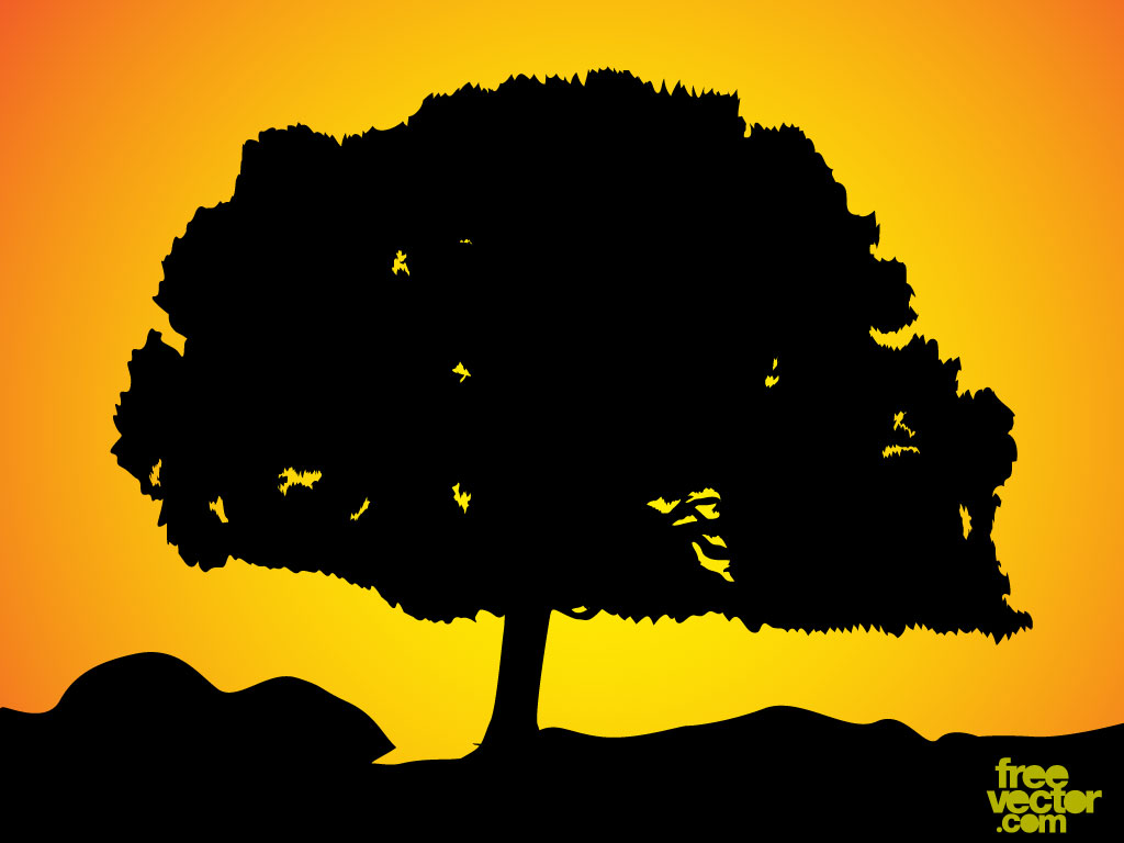 Silhouette Hill Tree