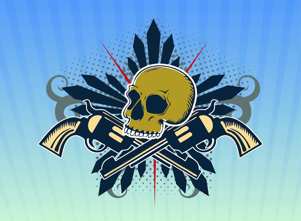 Cool Skull Logos With Guns Skull Design