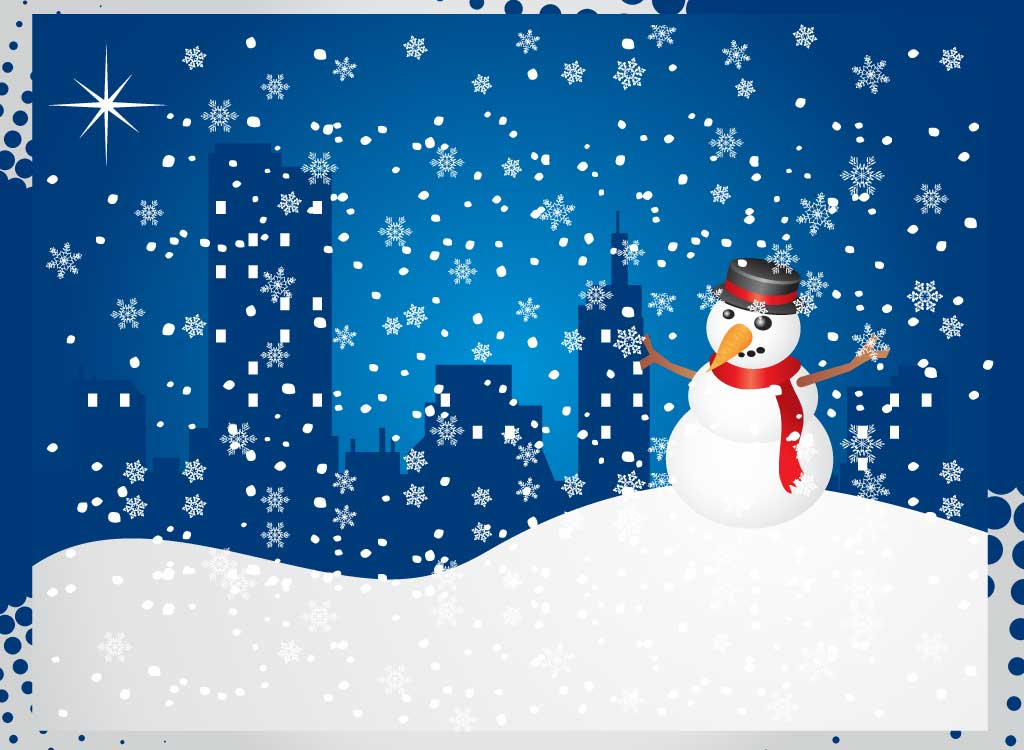 Christmas Card Snowman Lights And Decore