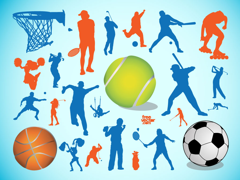 This sports vector pack includes golf badminton basketball