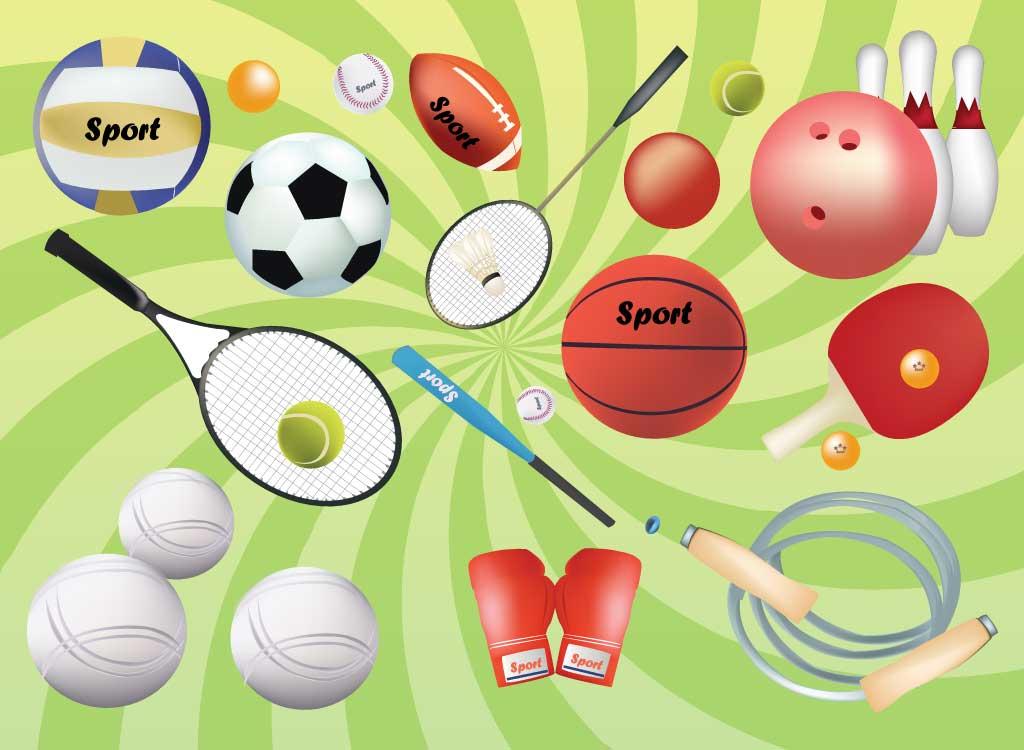 boxing gloves, rope, tennis racket and tennis balls, badminton racket ...