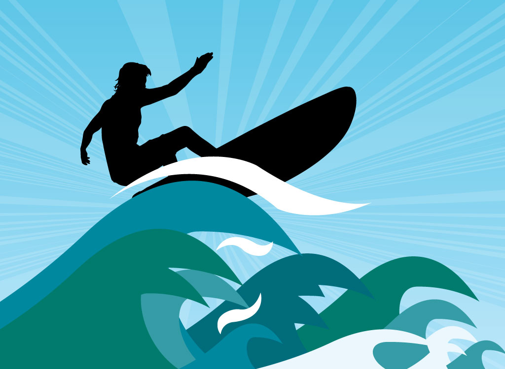 ... surfer riding blue green and white wave graphics the detailed surfer
