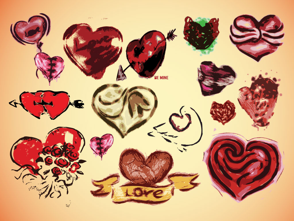 Vector Heart Drawings