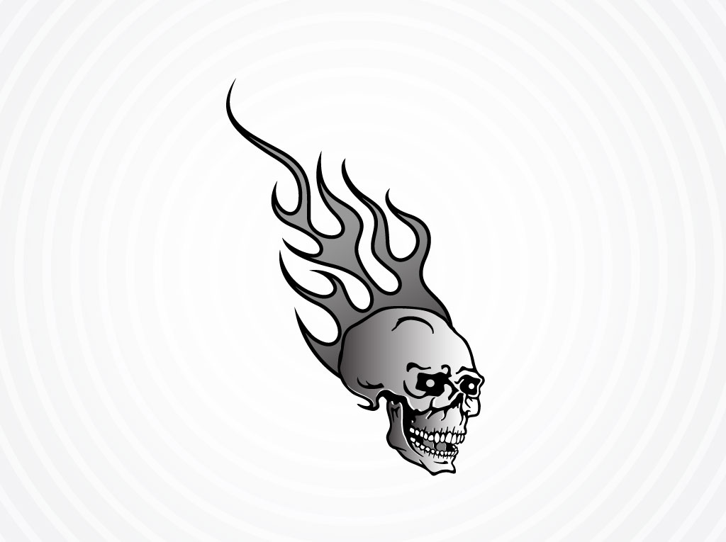 Vector Skull With Flames