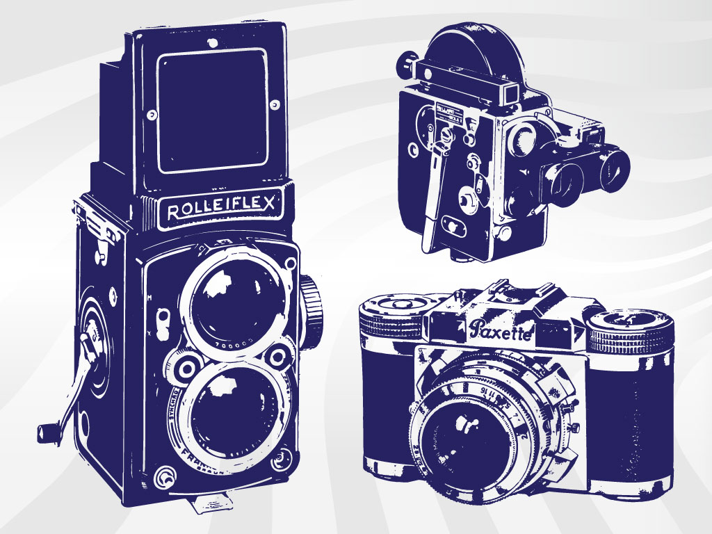 Detailed set of illustrated cameras will fit right in to vintage