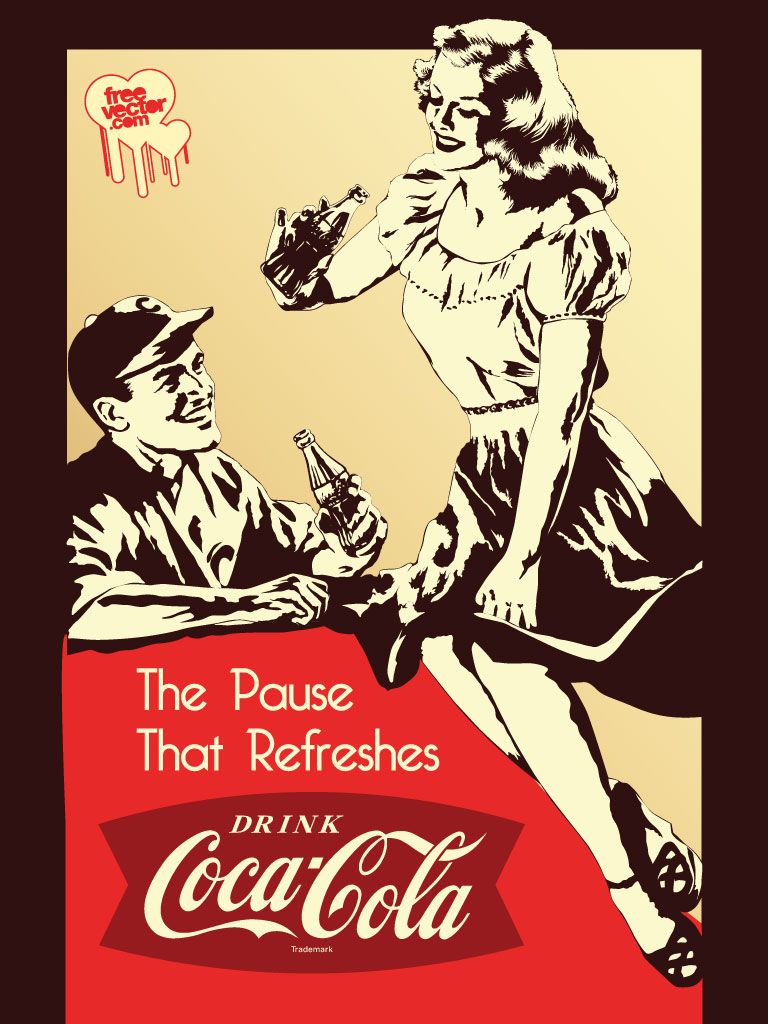 Download this vector art inspired by vintage coca cola posters